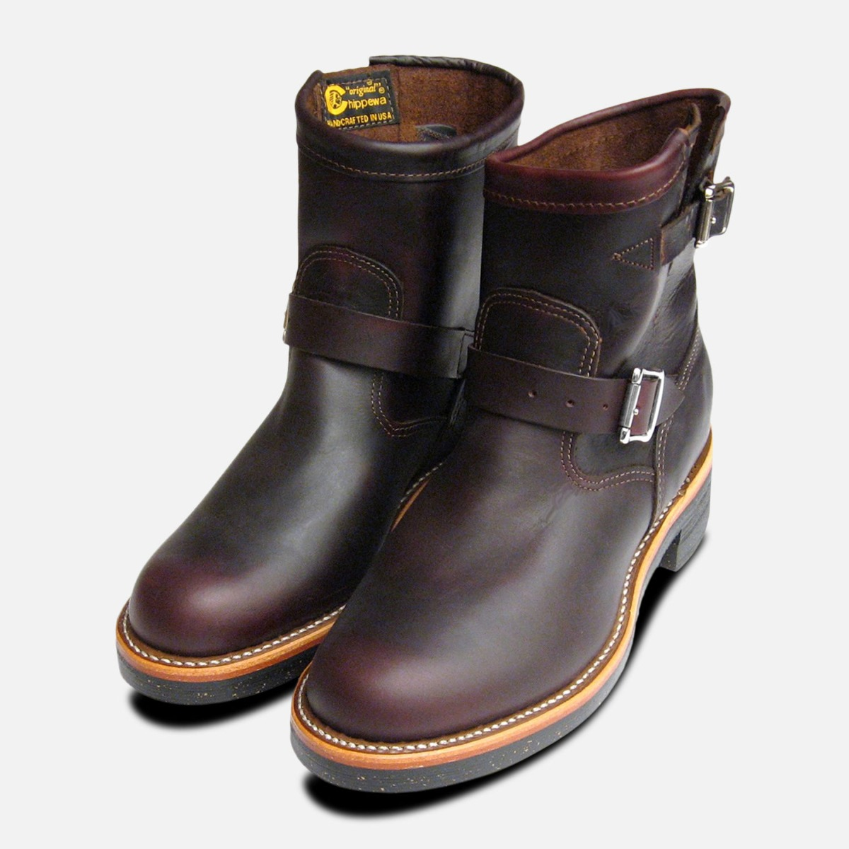 7364663add0 Details about Chippewa Cordovan Oxblood Mens Logger Boots with Vibram Sole