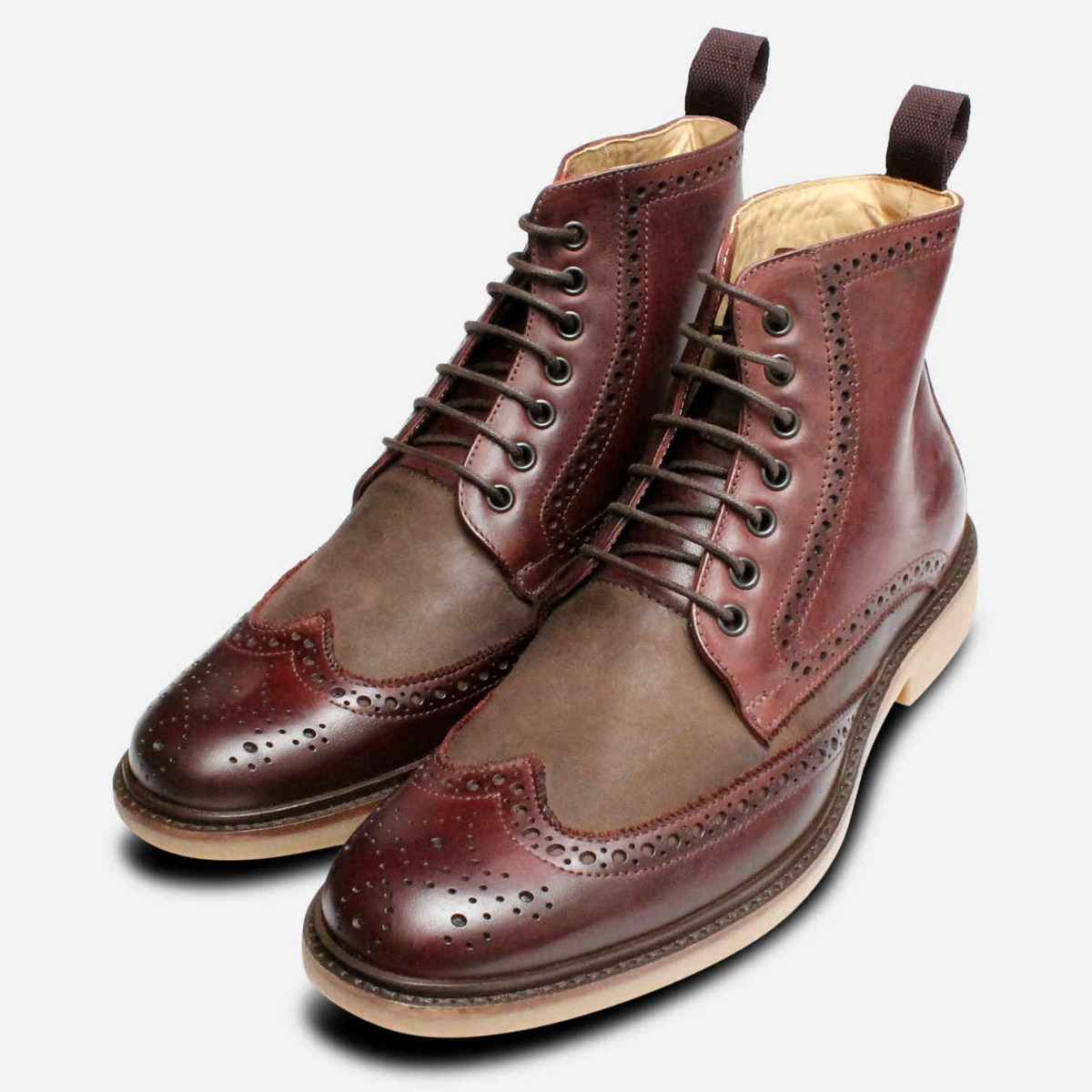 Tone Brogue By Burgundy New Boots Shoes Anatomic Two zw6U5U