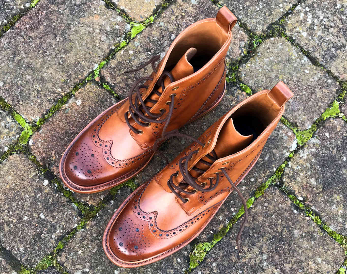 Tan Goodyear Welted Wingtip Brogue Country Boots
