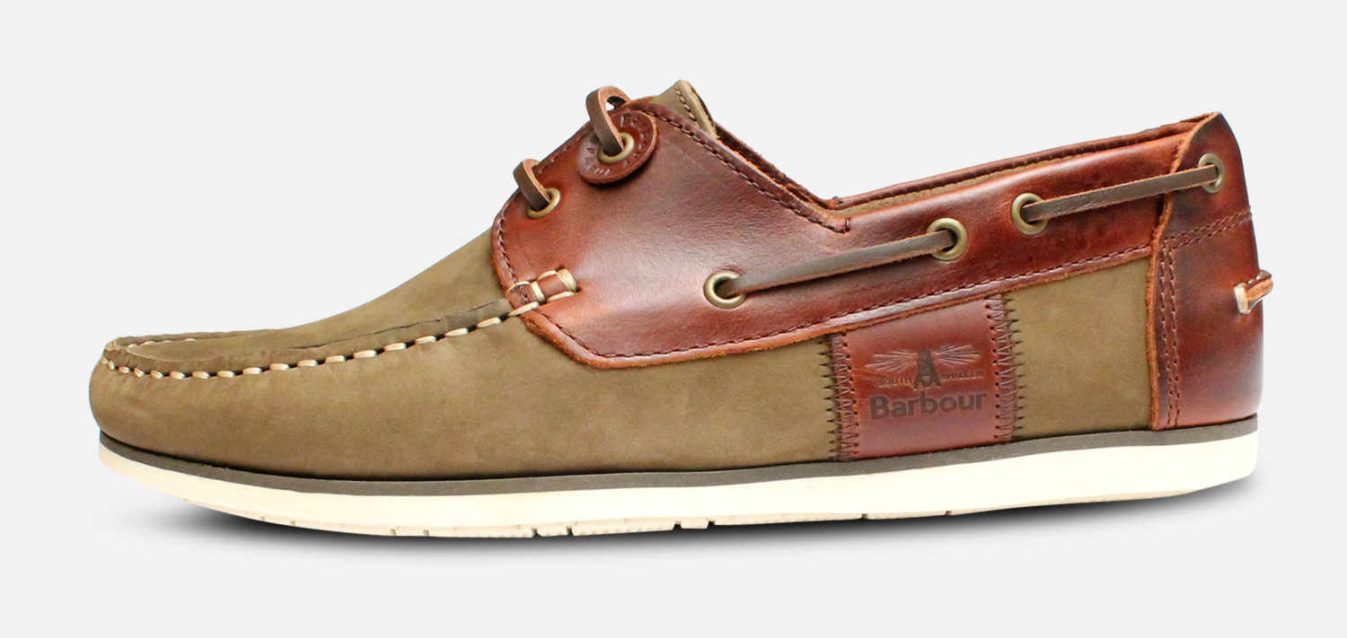 Barbour Capstan Boat Shoes in Olive & Mahogany Brown