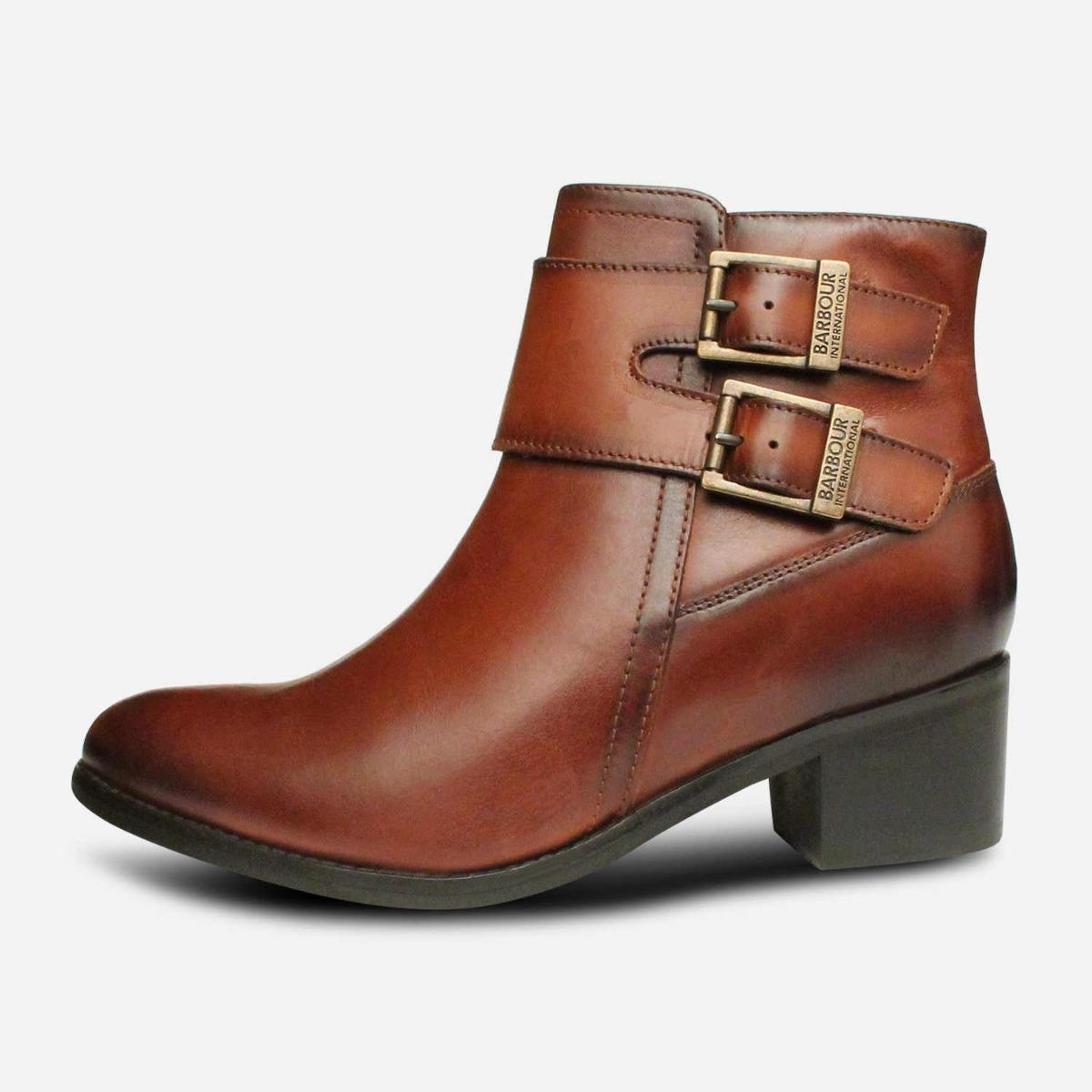 Barbour International Premium Inglewood 2 Buckle Boots in Tan