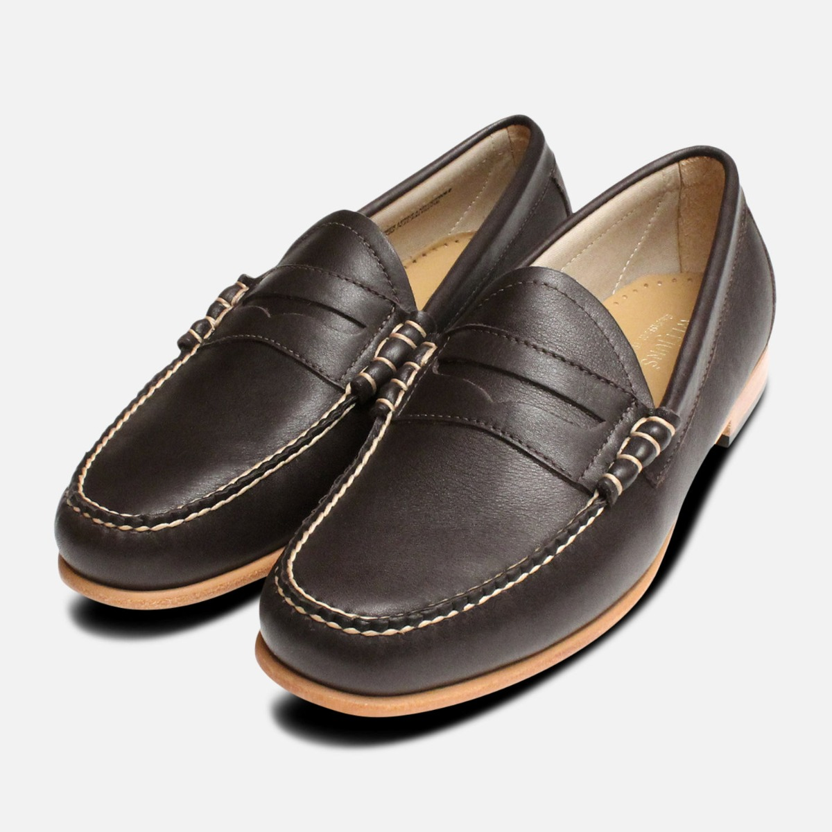 d3288af0ef4d Brown Leather Larson Loafers by GH Bass Weejuns. Handcrafted leather penny  loafers in dark brown leather with natural leather sole.