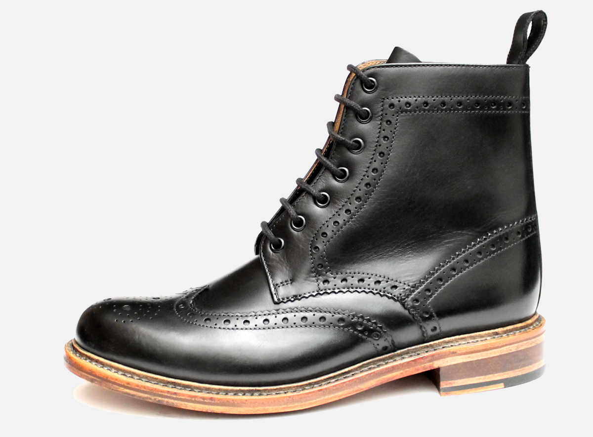 9274e2c621b Black Goodyear Welted Brogue Chapman Country Boots