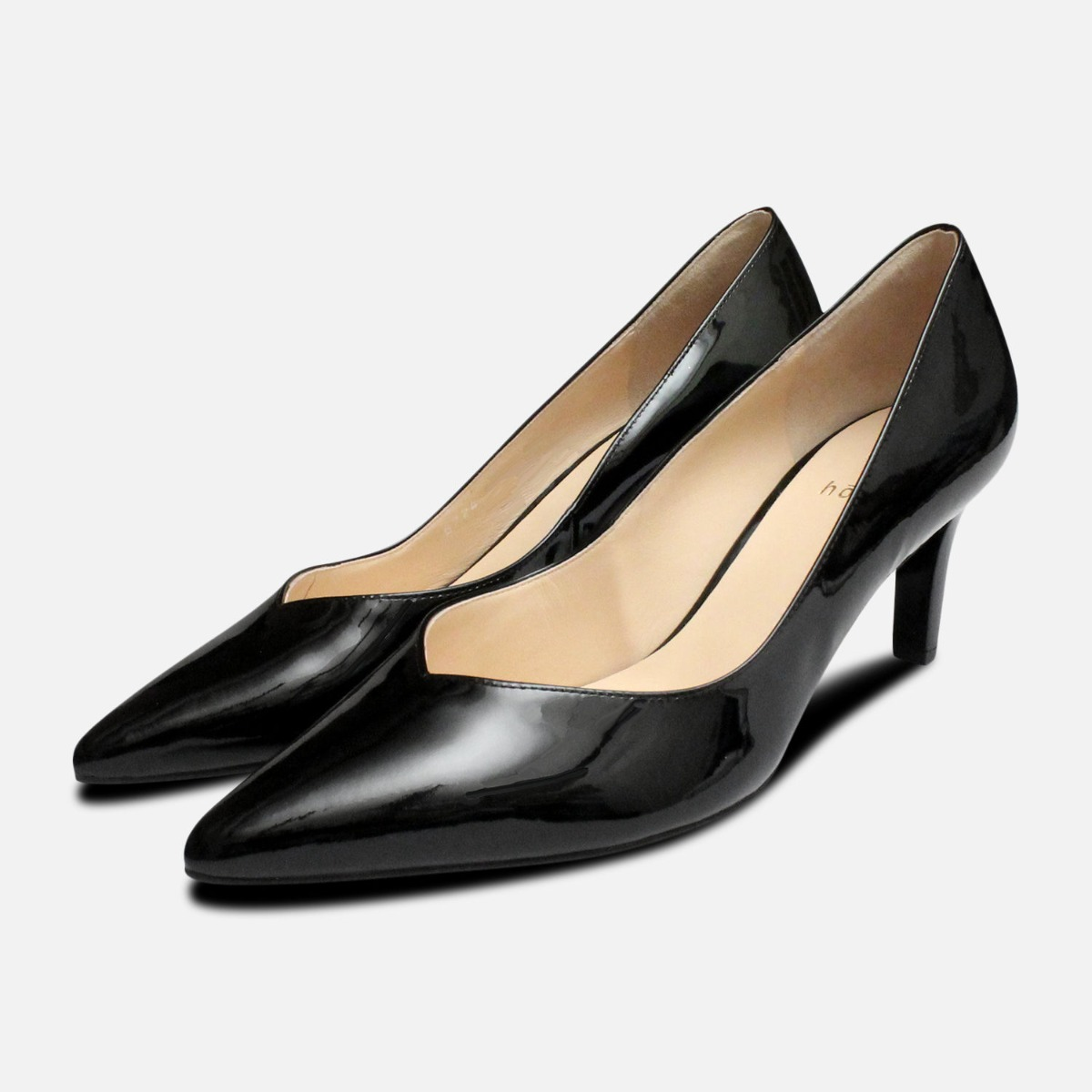 ad26b59c6c9 Details about Hogl Black Patent Pointed Toe Medium Heel Shoes