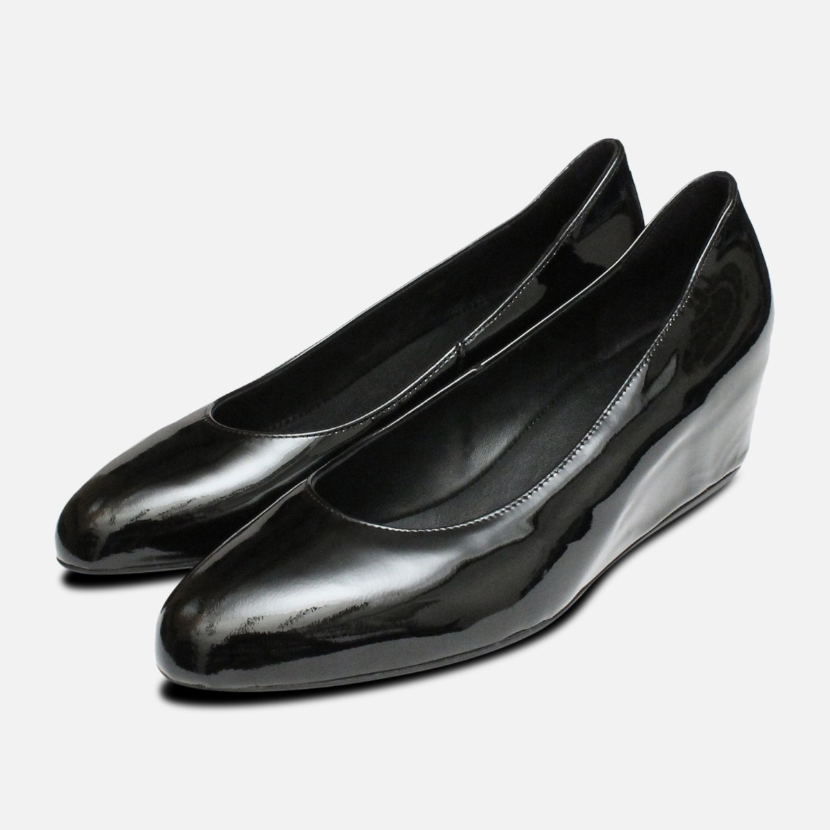 3b208ed220a Details about Hogl Black Patent Covered Wedge Ladies Shoes