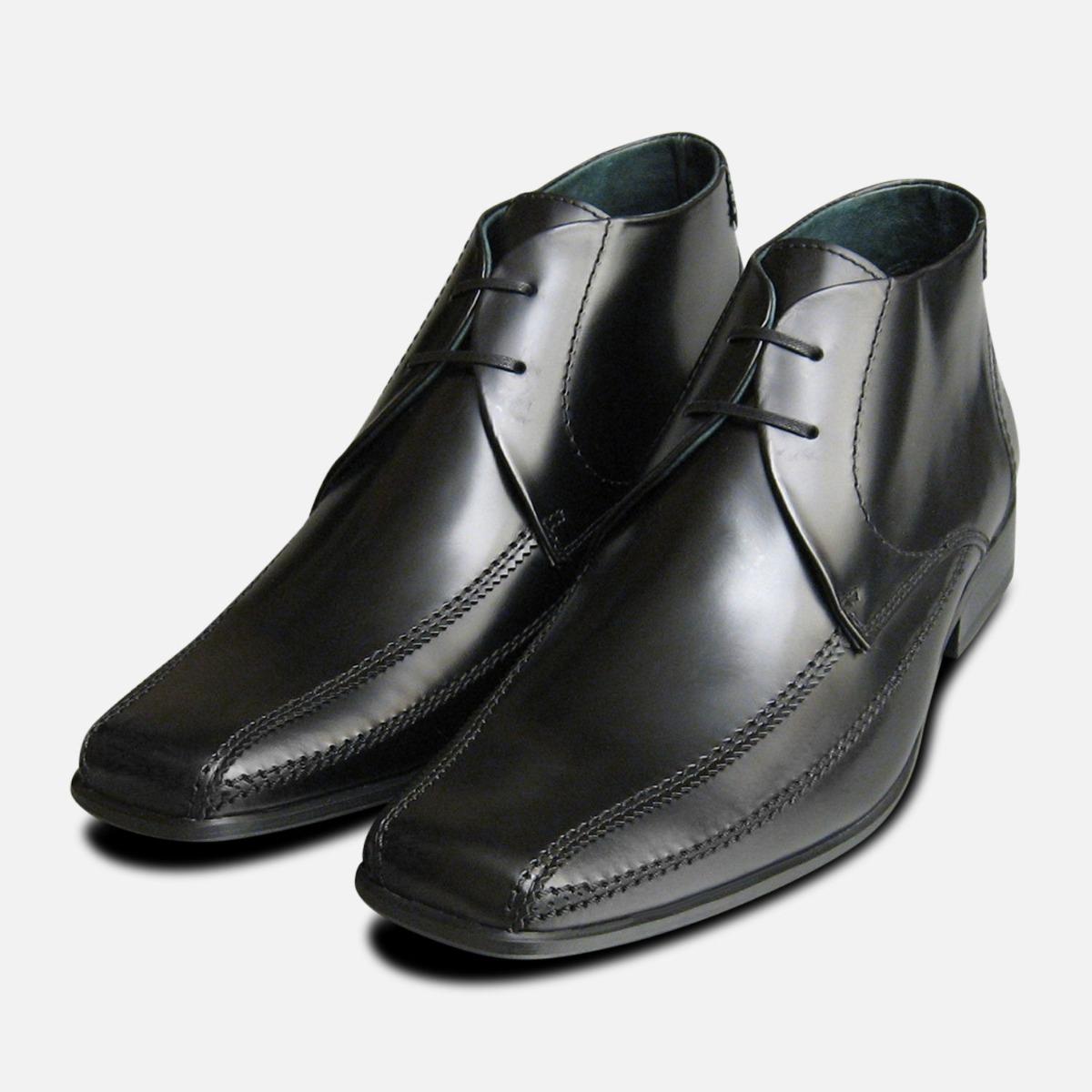 Exceed Black Polished Mens Chukka Boots