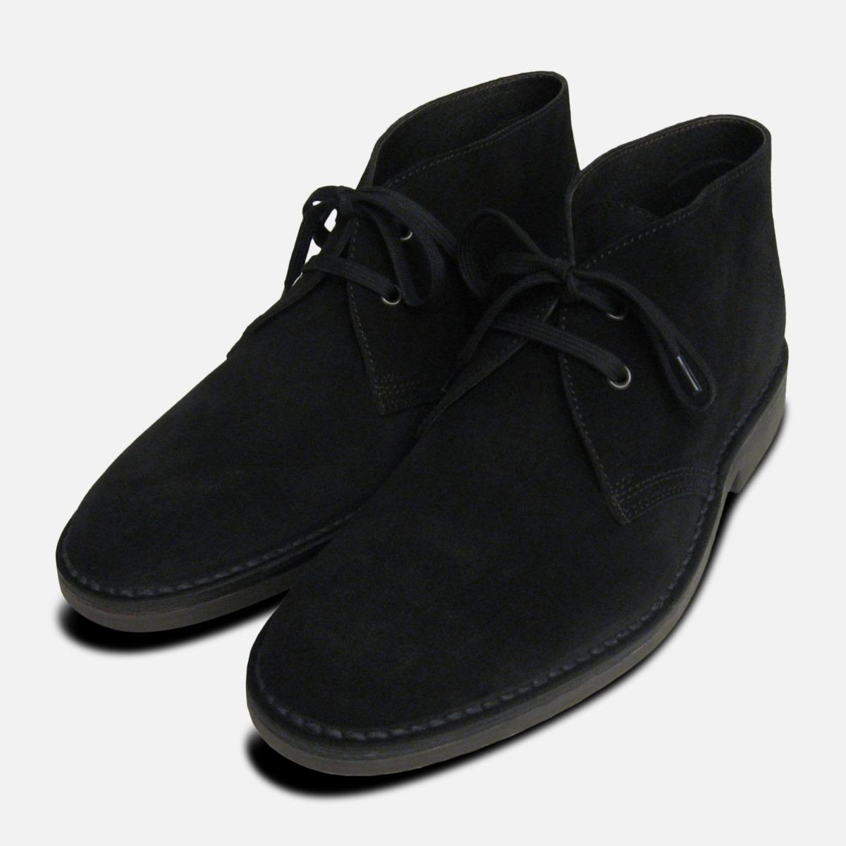mens black suede desert boots uk