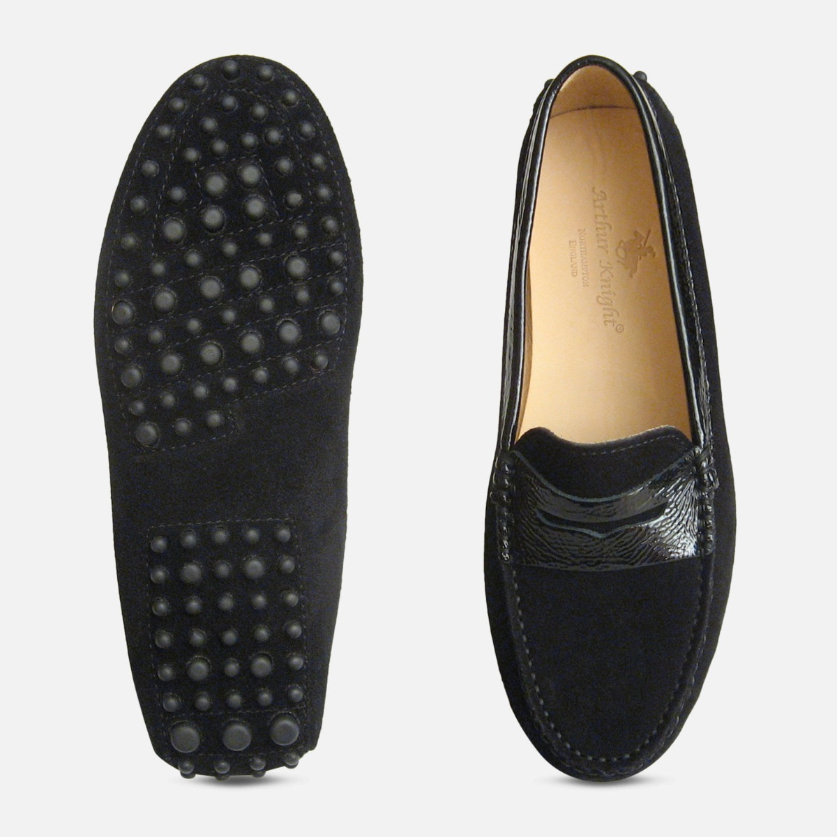 Black Suede & Crinkle Patent Arthur Knight Ladies Italian Driving Shoes
