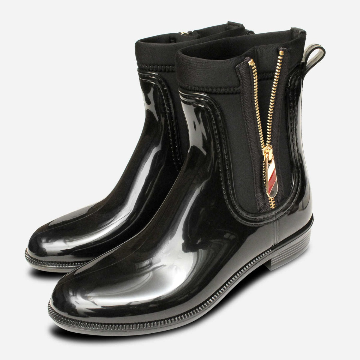 Designer Tommy Hilfiger Gold Zip Wellies in Black