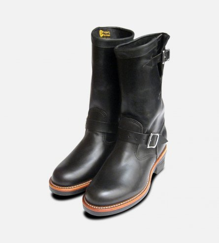 Chippewa 11 inch Mens American Hide Logger Boots in Waxy Black