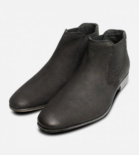 Matt Black Nubuck Leather Bugatti Beatle Boots for Men