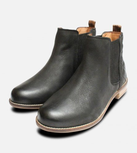 Barbour Abigail Quilted Chelsea Boots in Black Leather