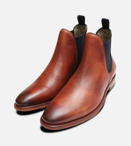 Burnished Chelsea Boots Allegro Tan by Oliver Sweeney