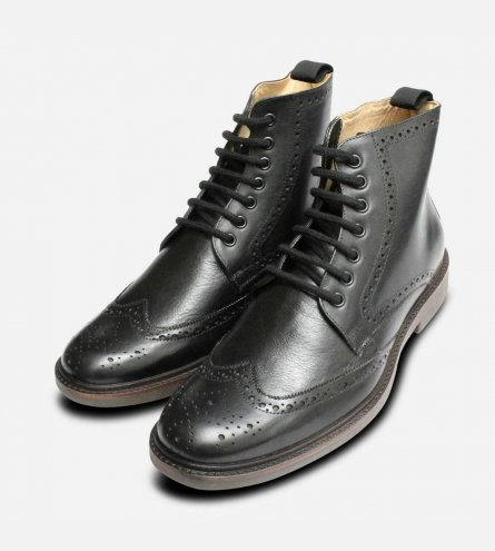 Luxury Black Country Brogue Boots by Anatomic Shoes