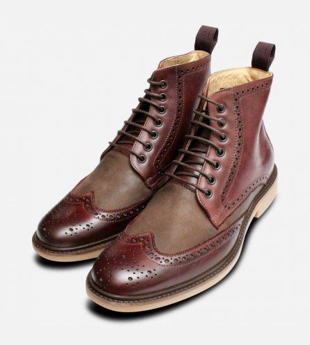 New Two Tone Burgundy Brogue Boots by Anatomic Shoes