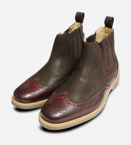 Burgundy & Waxy Brown Chelsea Boot Brogues by Anatomic