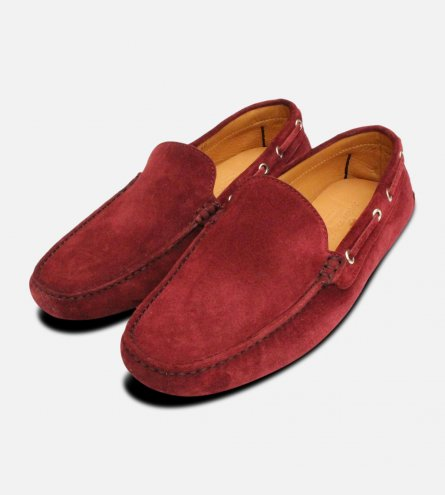 Aubergine Velour Suede Driving Shoe Moccasins