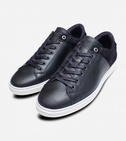 Luxury Barbour Ariel 2 Trainers in Navy Blue Leather