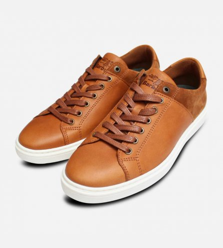Luxury Barbour Ariel 2 Trainers in Tan Leather