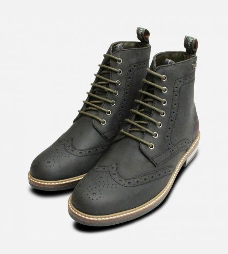 Country Brogues in Waxy Black by Barbour Belsay