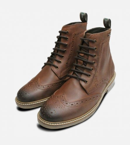 Country Brogues in Waxy Brown by Barbour Belsay