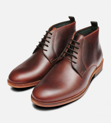 Barbour Benwell Mahogany Brown Waxy Boots