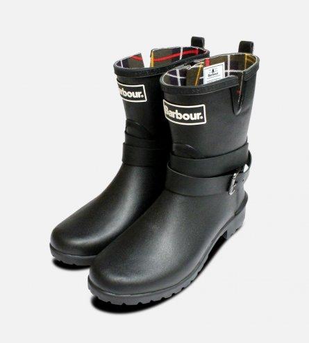 Barbour Biker Buckle Wellington Boots in Black