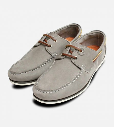 Barbour Grey Nubuck Leather Capstan Boat Shoes