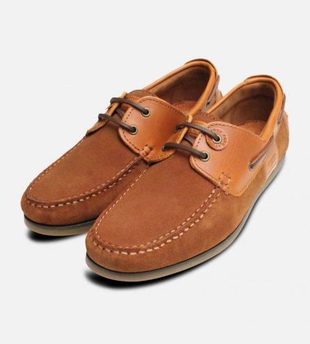 Capstan Cognac Suede Barbour Deck Shoes