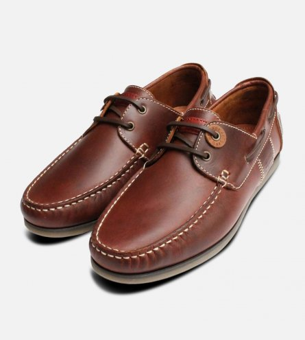 Barbour Waxy Brown Mens Boat Shoes