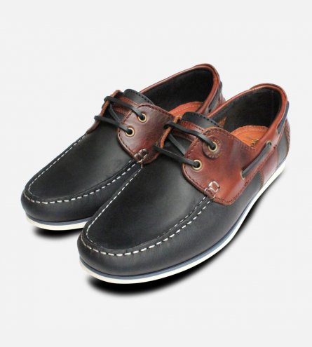 Classic Barbour Capstan Boat Shoes in Navy Blue & Brown