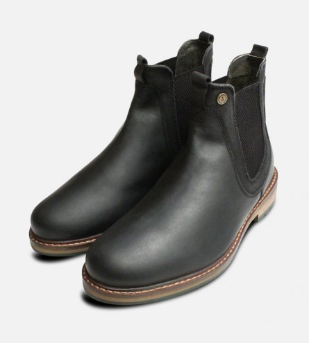 Black Waxy Barbour Cullercoats Mens Chelsea Boots