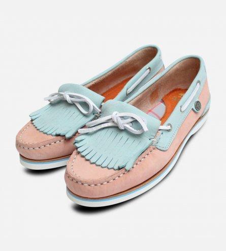 Barbour Ellen 2 Womens Pink & Light Blue Fringe Boat Shoes