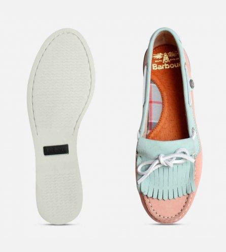 735c038b Barbour Ellen 2 Womens Pink & Light Blue Fringe Boat Shoes