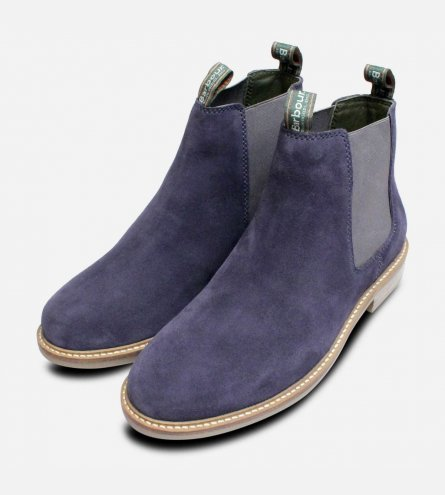 Ink Blue Suede Barbour Farsley Chelsea Boots for Men