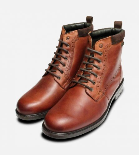 Barbour Hury Mens Walking Boots in Waxy Tan Leather