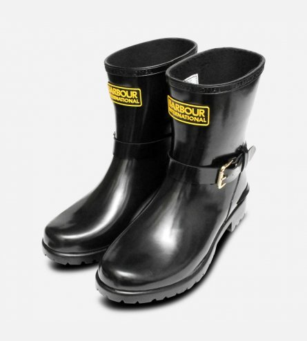 Barbour International Mugello Premium Welly Boot in Gloss Black