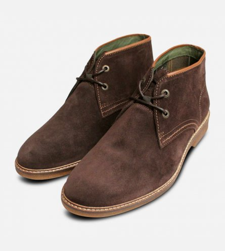 Barbour Kalahari 3 Mens Lace Up Boots in Brown Suede