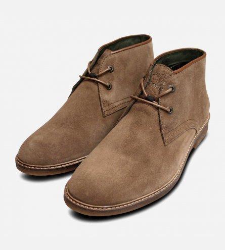 Barbour Kalahari 3 Mens Chukka Boots in Beige Suede