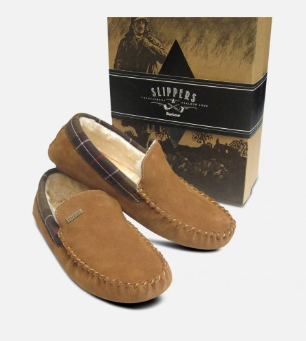 Barbour Mens Light Brown Suede Slippers Fur Lining