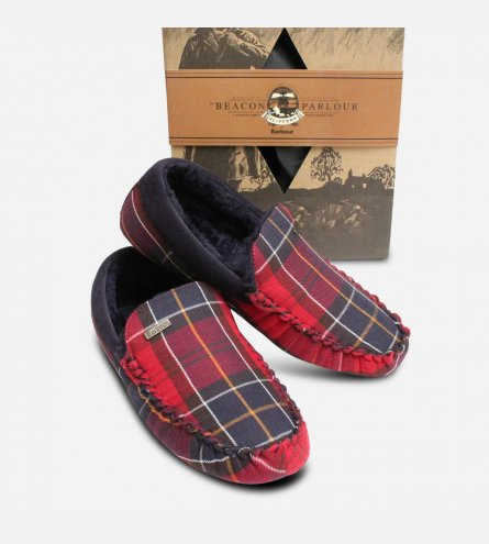 Barbour Monty Red Merlot Tartan Mens Gift Slippers