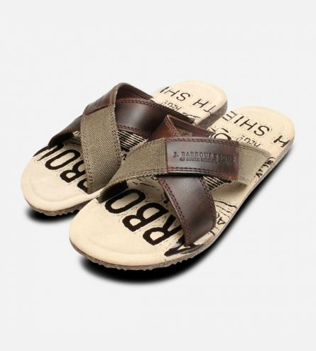 Barbour Brown Leather Cross Over Summer Newton Sandals