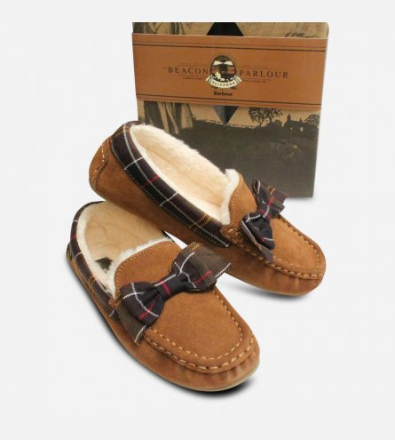 Barbour Sadie 2 Camel Ladies Tartan Bow Slippers