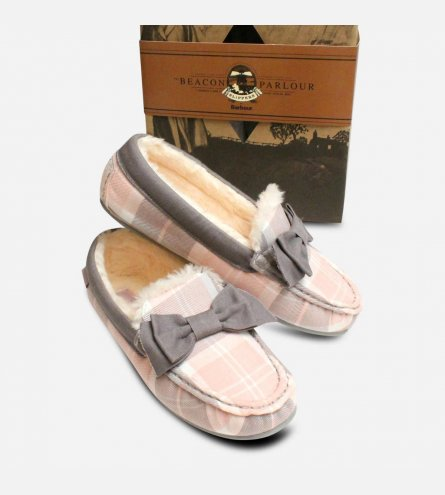 Barbour Sadie 2 Pink & Grey Tartan Bow Slippers