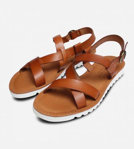 Barbour Sandside Flat Strap Sandals in Antique Tan