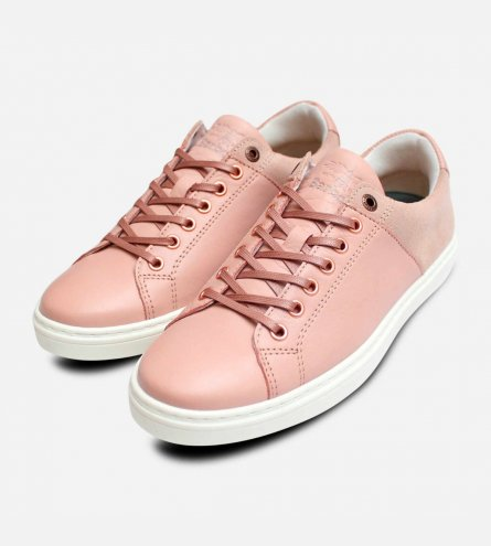 Barbour Womens Designer Catalina Trainers in Pink Leather