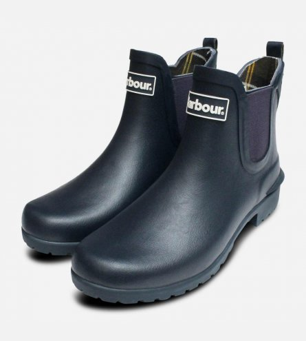 Barbour Ladies Wilton Chelsea Boot Welly in Navy Blue
