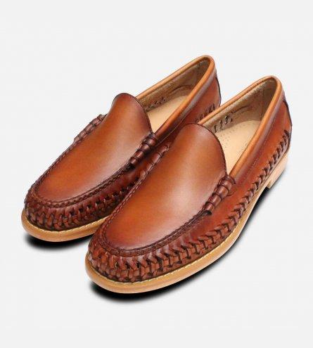 Venetian Weave II Bass Weejun Shoes in Brown Leather