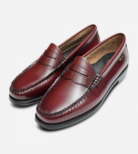 Bass Weejun II Loafers in Wine Leather with Rubber Sole
