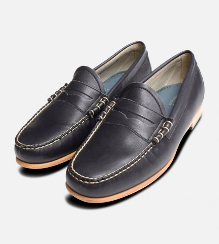 Navy Blue Bass Weejun Mens Loafers Leather Sole